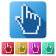 Pixel cursor flat icon click mouse hand — Stock Photo #69525413