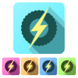 Set Flat icons of round wheel with lightning. Eco electric transport theme. — Stock Photo #69526027