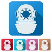 Set Flat icons of Underwater diving helmet. — Stock Photo