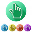 Pixel cursor flat icon click mouse hand — Stock Photo #69602241