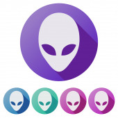 Set Flat icons of Alien head creature from another world. — Stock Photo