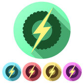 Set Flat icons of round wheel with lightning. Eco electric transport theme. — Stock Photo