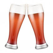 Two red beer glasses clink. — Stock Photo