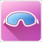 Flat icon with Classic snowboard ski goggles. — Stock Photo
