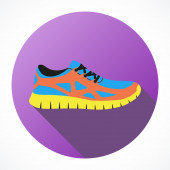 Shoes flat icon with bright colorful running sneakers. — Stock Photo