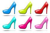 Bright modern high heels pump woman shoes — Stock Vector