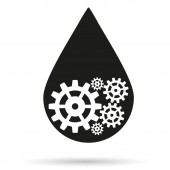 Silhouette symbol of oil industry drop with gears cogs — Stock Photo