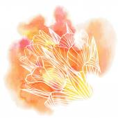 Tulip flowers on a watercolor background — Cтоковый вектор