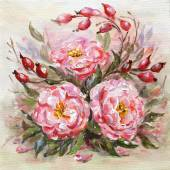 Original oil painting of Wilde rose — Stock Vector
