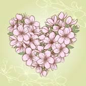 Cherry blossom  heart — Stock Vector