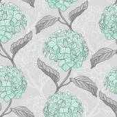Seamless pattern with hydrangea — Stok Vektör