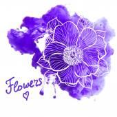 Üzerine suluboya çiçek — Stok Vektör