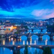Panoramic view of Prague bridges over Vltava river — Stock Photo #53884217