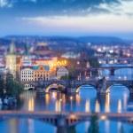 Panoramic view of Prague bridges over Vltava river — Stock Photo #53884219