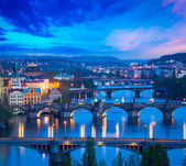 Panoramic view of Prague bridges over Vltava river — Stockfoto