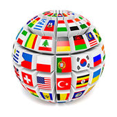 Globe sphere with flags of the world — Stock Photo