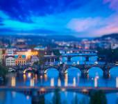Panoramic view of Prague bridges over Vltava river — 图库照片
