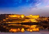 Amer Fort at night in twilight. Jaipur, Rajastan, — Stock Photo