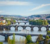 Panoramic view of Prague bridges over Vltava river — Stok fotoğraf
