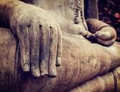 Buddha statue hand close up detail — Stock Photo