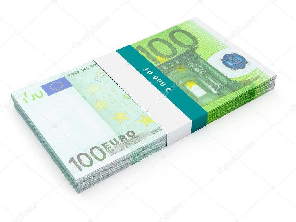 Paquete de billetes de billetes de 100 euros aislado for Wohnlandschaft 100 euro