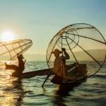 Burmese fisherman at Inle lake, Myanmar — Stock Photo #55850293