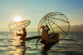 Burmese fisherman at Inle lake, Myanmar — Stock Photo