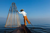 Burmese fisherman at Inle lake, Myanmar — Photo