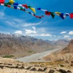 Buddhist prayer flags lungta in Spiti valley — Stock Photo #55866407