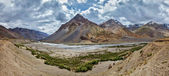 Spiti valley and river in Himalayas — Stock Photo