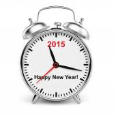 Year 2015 classic alarm clock isolated — 图库照片