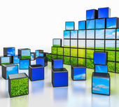 Cubes with landscape image on white background — Stock Photo