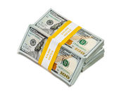 Bundles of 100 US dollars 2013 edition banknotes — Stock Photo
