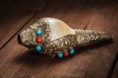 Tibetan Buddhist Conch Shell Horn Dung-Dkar — Stock Photo