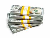 Bundles of 100 US dollars 2013 edition banknotes — Stock Photo