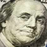 Benjamin Franklin portrait macro shot of 100 bill — Stock Photo #61707943