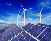 Solar battery panels and wind generators — Foto Stock