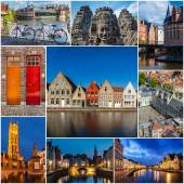 Mosaic collage storyboard of Belgium images — Stock Photo