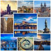 Mosaic collage storyboard of Prague images — Stock Photo