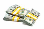 Bundles of 100 US dollars 2013 banknotes bills — Stock Photo