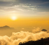 Mountains in clouds. Kodaikanal, Tamil Nadu — Stockfoto