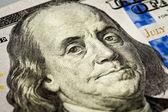 Benjamin Franklin portrait macro shot of 100 bill — Stock Photo