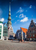 Riga Town Hall Square and St. Peters Church — Stock Photo