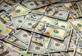 Background of hundred dollars bank notes — Stock Photo