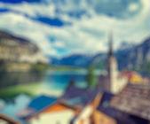 Austria blurred background Hallstatt village — Stock Photo
