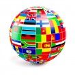 ThreeD globe sphere with flags of the world on white — Stock Photo #67989267