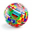 3D globe sphere with flags of the world on white — Stock Photo #67993787