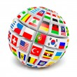 3D globe sphere with flags of the world on white — Stock Photo #67993791