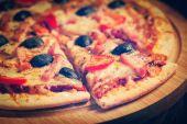 Schinken pizza — Stockfoto