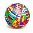 D globe sphere with flags of the world on white — Stock Photo #69607657